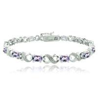 Bracelets - amethyst diamond cubic zirconia tennis accent infinity bracelet Image.
