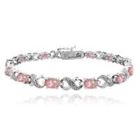 Bracelets - pink diamond cubic zirconia tennis accent infinity bracelet Image.