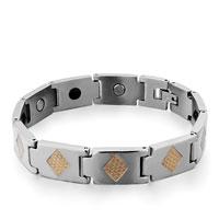 Bracelets - men's stainless steel bracelets cuff bangle bracelets 10 links golden rhombus men's bracelet Image.