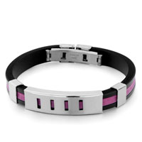 Bracelets - men's stainless steel bracelets cuff bangle bracelets black silicone bracelet fuchsia loop arc rectangle pattern Image.