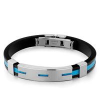 Bracelets - black silicone bracelet cyan loop pattern rectangle men's stainless steel bracelets cuff bangle bracelets Image.
