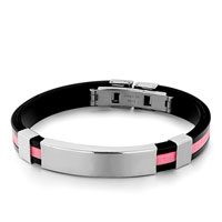 Bracelets - black silicone bracelet pink loop pattern plain rectangle men's stainless steel bracelets cuff bangle bracelets Image.