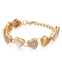 Bracelets - alternate gold heart shell clear rhinestone crystal pearl lobster clasp extend bracelets Image.