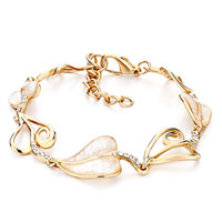 Bracelets - alternate gold heart shell pearl lobster clasp extend bracelets Image.
