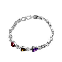 Bracelets - silver tone multi color crystal heart love bracelet Image.