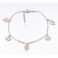 Sterling Silver Jewelry - leaves fishes 925 sterling silver ankle bracelet anklet lobster clasp Image.