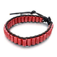 Bracelets - red ceramic bars on black leather wrap bracelet metal button Image.