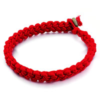 Bracelets - red woven cotton army green boulder bracelet Image.
