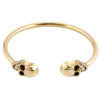 Man's Jewelry - silver plated skull skeleton fashion gold tone ringent cuff bangle bracelet Image.
