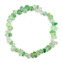 Bracelets - natural healing crystal fire agate light green chip stone gemstone stretch bracelet Image.