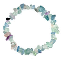 Bracelets - natural healing crystal fire agate colorful chip stone gemstone stretch bracelet Image.