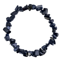 Bracelets - natural healing crystal fire agate classic black chip stone gemstone stretch bracelet Image.
