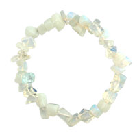 Bracelets - natural healing crystal fire agate milky white chip stone gemstone stretch bracelet Image.