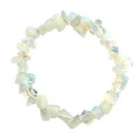 Bracelets - natural healing crystal fire agate milky white chip stone gemstone stretch bracelet Image.