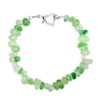 Bracelets - handmade genuine green natural gem stone chips bracelet Image.