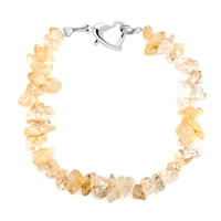 Bracelets - handmade genuine light yellow natural gem stone chips bracelet Image.