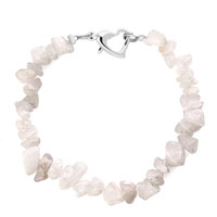 Bracelets - handmade genuine white natural gem stone chips bracelet Image.