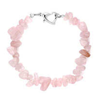 Bracelets - handmade genuine light pink natural gem stone chips bracelet Image.