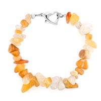Bracelets - handmade genuine greyellow natural gem stone chips bracelet Image.