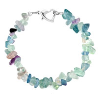 Bracelets - handmade genuine multicolor natural gem stone chips bracelet Image.