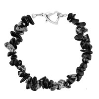 Bracelets - handmade genuine black natural gem stone chips bracelet Image.