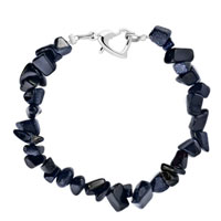 Bracelets - handmade genuine dark blue natural gem stone chips bracelet Image.