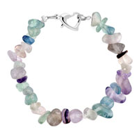 Bracelets - handmade genuine purple blue natural gem stone chips bracelet Image.