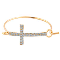 New Year Deals - sideways cross bangle bracelet swarovski elements iced out yellow gold plated Image.