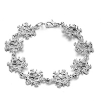 Bracelets - silver plated snowflake linked chain bracelets christmas jewelry Image.