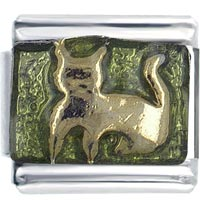 Italian Charms - green cat italian charms Image.