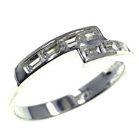 Rings - size 7  cz wrap channel set band sterling silver ring gift fashion jewelry Image.