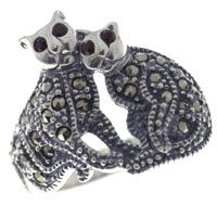 Rings - fashion size 8  siamese cats cute 925  sterling silver ring jewelry Image.