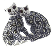 Rings - size 9  siamese double cats cute 925  sterling silver ring Image.