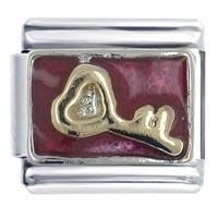 Italian Charms - key red birthstones jewelry italian charm bracelet Image.