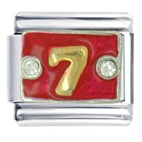 Italian Charms - golden italian charm bracelet number 7  red words &  phrases Image.