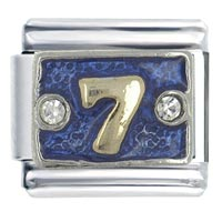Italian Charms - number 7  blue italian charms Image.