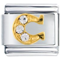 Italian Charms - clear studded horseshoe sports italian charms Image.
