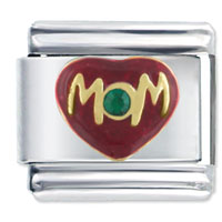 Italian Charms - mom heart love green rhinestone italian charms Image.