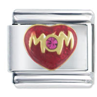 Italian Charms - mom heart love purple rhinestone italian charm bracelet Image.