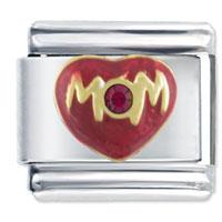Italian Charms - mom red purple rhinestone italian charm bracelet Image.