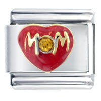 Italian Charms - mom heart love orange stud autumn fashion jewelry italian charm bracelet Image.