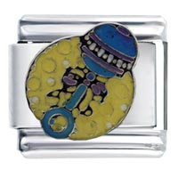Italian Charms - enamel yellow baby rattle italian charm 9 mm link stainless steel Image.