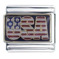 Italian Charms - hot enamel usa flags italian charm stainless steel base 9 mm link Image.