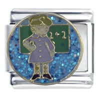 Italian Charms - enamel female teacher italian charm stainless steel base 9 mm link Image.