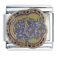 Italian Charms - enamel piggy gift animal italian charm stainless steel base 9 mm link Image.