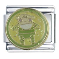 Italian Charms - enamel baby in green stainless steel base italian charm link 9 mm Image.