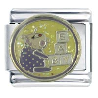 Italian Charms - enamel baby playing infant charm stainless steel italian charm 9 mm Image.