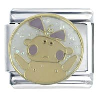 Italian Charms - ebamel baby in yellow gift stainless steel italian charm link 9 mm Image.