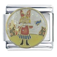 Italian Charms - hot enamel girl &  butterfly stainless steel italian charm link 9 mm Image.