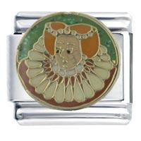 Italian Charms - enamel queen elizabeth stainless steel base italian charm link 9 mm Image.